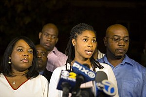 Miriam Carey's sisters (L-R) Valerie Carey and Amy Carey-Jones speak to the media outside a home in Bedford-Stuyvesent