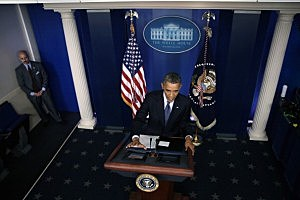 President Barack Obama speaks during a press conference in the Brady Press Briefing Room of the White House
