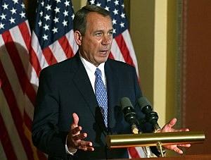 House Speaker John Boehner (R-OH) speaks to the media following U.S. President Barack Obama's news conference, at the U.S. Capitol