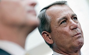 Speaker of the House John Boehner (R-OH) attends a press conference with members of the House Republican leadership