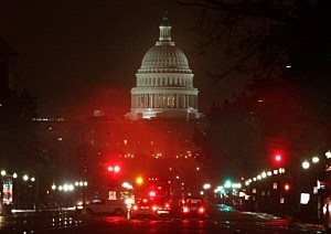 Pennsylanvia Ave. and the U.S. Capitol is shown on a rainy morning