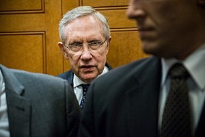 Senate Majority Leader Harry Reid (D-NV) leaves the Capitol building