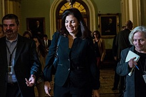 Sen. Kelly Ayotte (R-NH) walks through the Capitol Building
