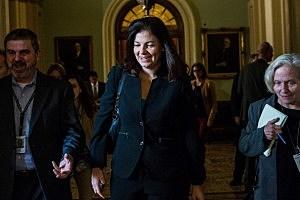 Sen. Kelly Ayotte (R-NH) walks through the Capitol Building