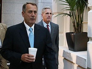 House Speaker John Boehner (R-OH) (L) and House Majority Whip Kevin McCarthy (R-CA) walk to a Republican caucus meeting at the U.S. Capitol,