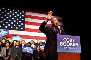 Newly elected U.S. Senator Cory Booker speaks after winning a special election