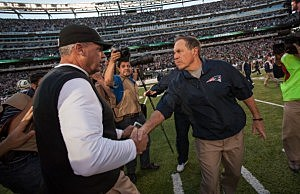 Head coach Rex Ryan of the New York Jets (L) and head coach Bill Belichick of the New England Patriots shake hands after the game at MetLife Stadium
