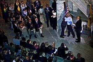 Alexander Padilla and Anthony Arenas hug each other after being married by Newark Mayor and newly-elected U.S. Senator Cory Booker at City Hall
