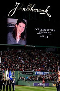 A moment of silence for fallen teacher 24-year-old Colleen Ritzer before the start of Game One of the 2013 World Series