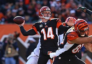 : Andy Dalton #14 of the Cincinnati Bengals throws a pass against the Jets