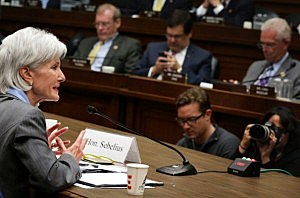 Health and Human Services Secretary Kathleen Sebelius testifies during the House Energy and Commerce Committee hearing about the troubled launch of the Healthcare.gov website