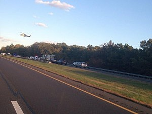 Medical helicopter lands at I-195 accident near #16 in Jackson