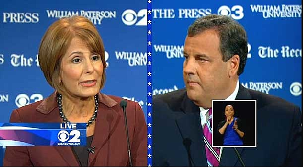 Barbara Buono and Chris Christie at first gubernatorial debate at William Paterson University in Wayne