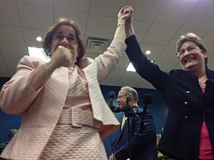 Beth Asaro and Joanne Schailey after being married in Lambertville in one of New Jersey's first gay marriages