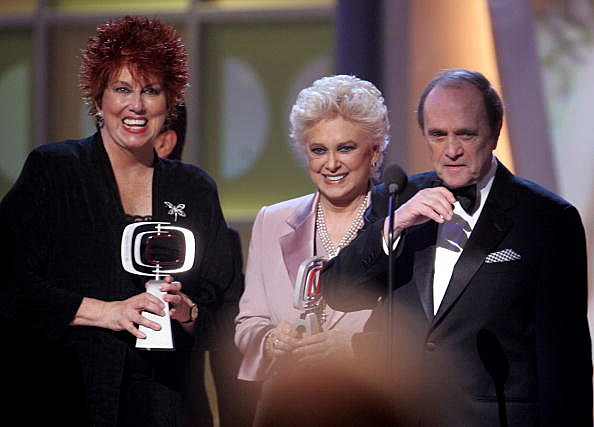 "Actresses Marcia Wallace, Suzanne Pleshette, and Actor Bob Newhart accept the Icon Award for ""The Bob Newhart Show"" onstage at the 2005 TV Land Awards"