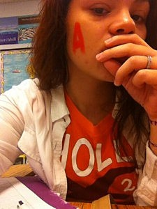 """A North Vineland High School student wears an orange """"A"""" and wears orange in honor of Alexia Strittmatter"""