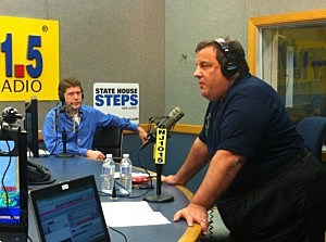 Governor Christie in studio for Ask The Governor the night of Superstorm Sandy