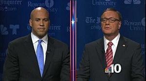 Cory Booker and Steve Lonegan during debate at Rowan University