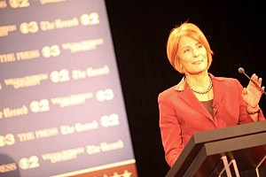 Barbara Buono at gubernatorial debate at William Paterson University