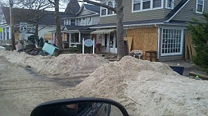 Sand piled along the steet in Point Pleasant