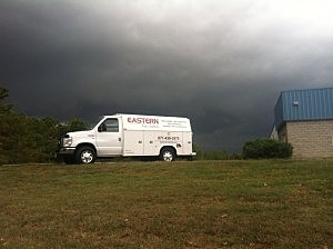 Dark clouds from approaching thunderstorms in Farmingdale