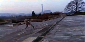 Rocky runs up the steps of the Philadelphia Art Museum in the first Rocky movie