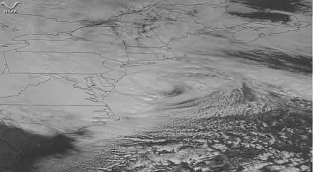 Satellite view of Sandy approaching New Jersey