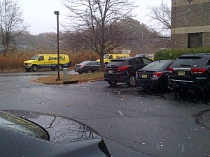 Snow falls at the New Jersey 101.5 studios in Ewing
