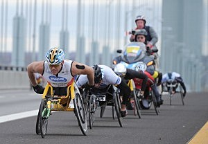 Athletes in the Wheelchair Division cross the Verrazano-Narrows Bridge at the start of the ING New York City Marathon