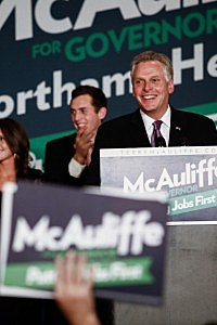 Virginia Governor-elect Terry McAuliffe (D) speaks to the crowd during an election night event