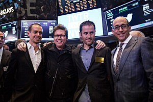 (L-R) Twitter co-founder Jack Dorsey, Twitter co-founder Biz Stone, Twitter co-founder Evan Williams and Twitter CEO Dick Costolo pose for a photo after Twitter's IPO on the floor of the New York Stock Exchange