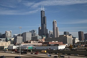 The Willis Tower (formerly Sears Tower) rises above the Chicago skyline