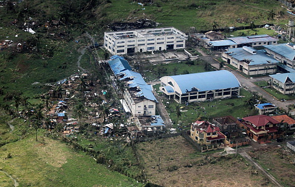 An aerial view of buildings destroyed in the aftermath of Typhoon Haiyan over the Leyte province, Philippines