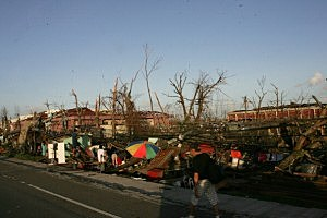Widespread devastation is left behind in the aftermath of Typhoon Haiyan on November 10, 2013 in Tacloban, Leyte, Philippines.