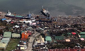 An aerial view of buildings destroyed in the aftermath of Typhoon Haiyan on November 10, 2013 over the Leyte province, Philippines.