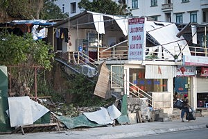 Storm damage on the morning after Typhoon Haiyan made landfall on November 12, 2013 in Halong City, Vietnam.