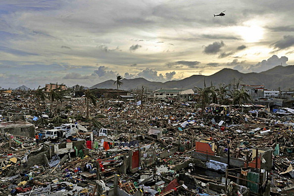 An entire neighbourhood is destroyed in the aftermath of Typhoon Haiyan in Tacloban, Leyte, Philippines