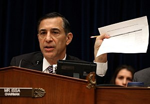 Chairman U.S. Rep. Darrell Issa (R-CA) questions Information Technology Officers during a House Oversight and Government Reform Committee hearing on the Affordable Health Care Act roll out