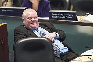 Toronto Mayor Rob Ford sits during a Toronto City Council meeting at City Hall