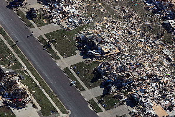 Tornado damaged homes  in Washington, Illinois