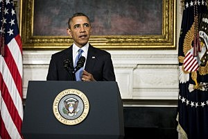 President Barack Obama makes a statement announcing an interim agreement on Iranian nuclear power