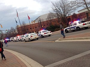 Police on campus at Ball State University in Muncie, Indiara