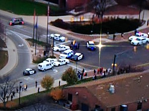 Police on campus at Ball State in Indiana after reports of a gunman