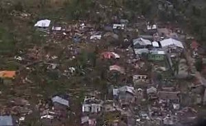 Aerial view of damage on Bantayan Island