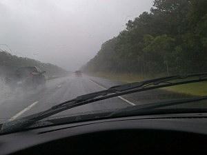 Rain falls on I-195