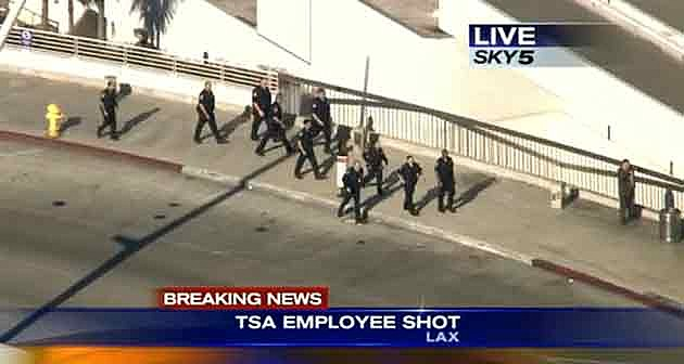 Police outside Terminal 3 at Los Angeles Airport