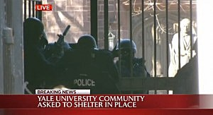 Police outside the Yale campus