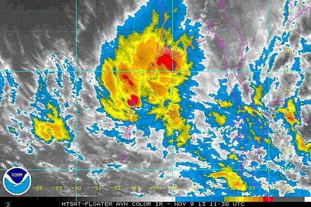Satellite image of Typhoon Haiyan on Saturday morning