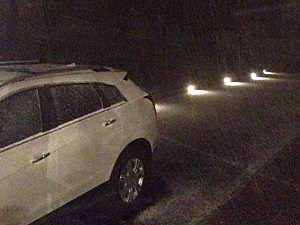 Snow showers in Burlington County on Saturday night