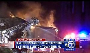 Fire burns at a Union Township condo complex